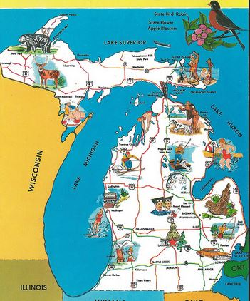 Vintage Map of State of Michigan