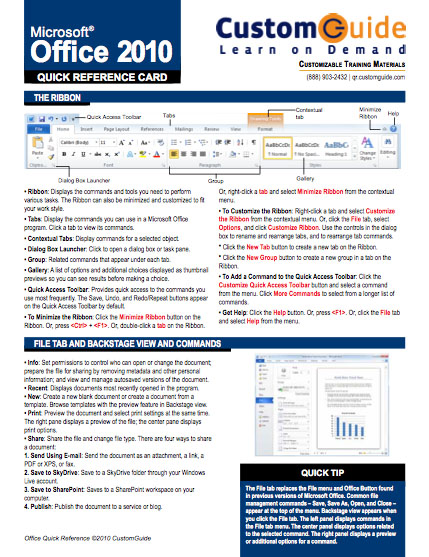 Office 2010 Quick Guide