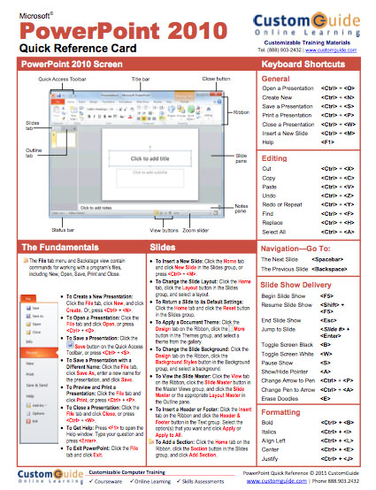 PowerPoint 2010 Quick Reference Guide