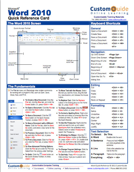 Word 2010 Quick Reference Guide