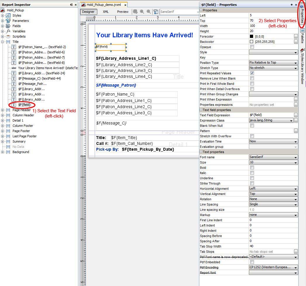 iReport Add Text Field Properties