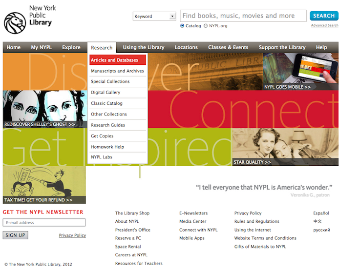 Screen Shot of NYPL homepage