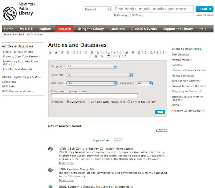 Screen Shot of Articles and Databases Platform