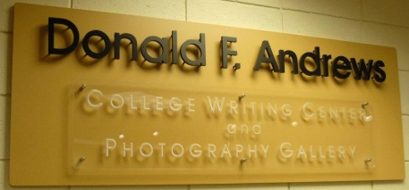 Donald F. Andrews College Writing Center and Photography Gallery (sign)