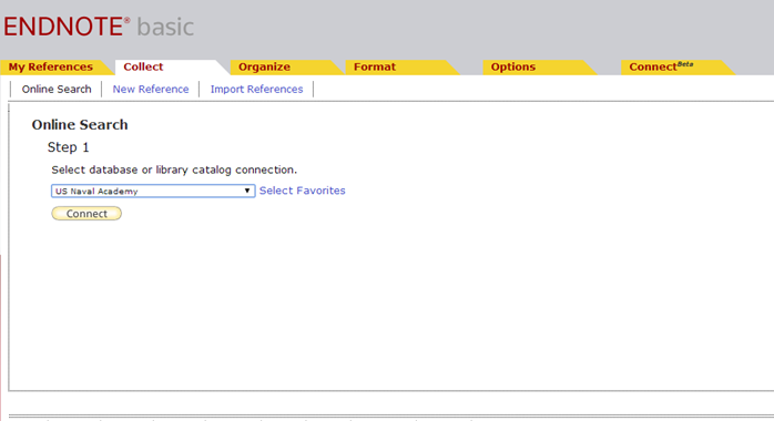 Screenshot for EndNote's ability to select a library catalog to search.