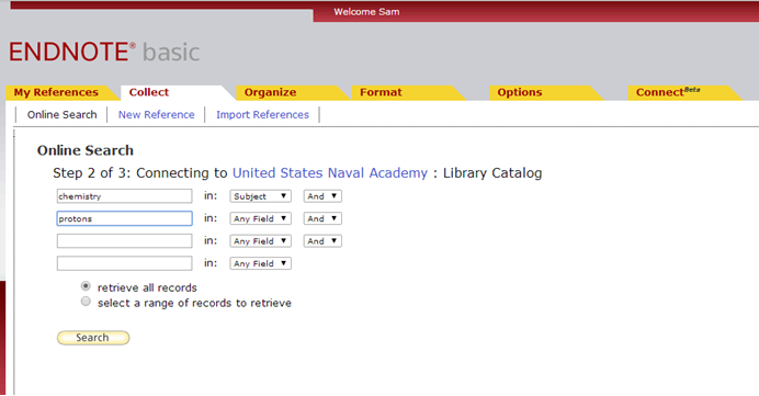 Screenshot of how to compose a search in a library catalog through EndNote.