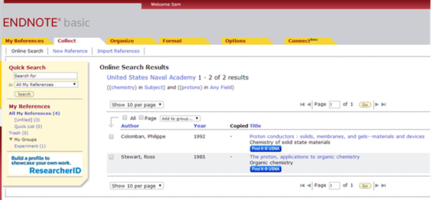 Screenshot of library catalog search results within EndNote.