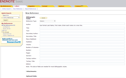 Screenshot of the New Reference page in EndNote for manual data entry.
