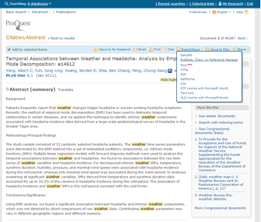 Screenshot of how to send data to EndNote from Proquest resources.