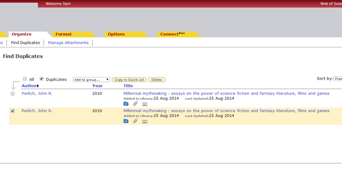 Screenshot of EndNote's Find Duplicates page.