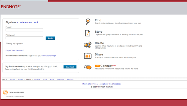 Screenshot of EndNote Web login screen.