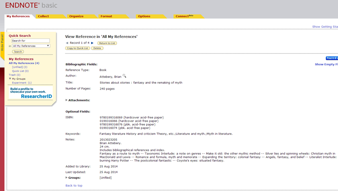 Screenshot of an example reference page in EndNote.
