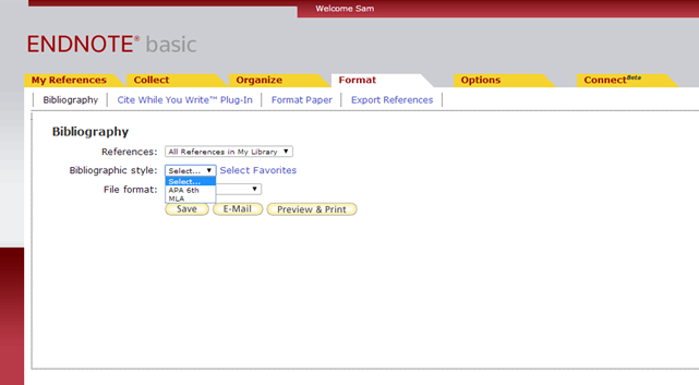 Screenshot of EndNote's bibliographic tool limited to 2 favorites.