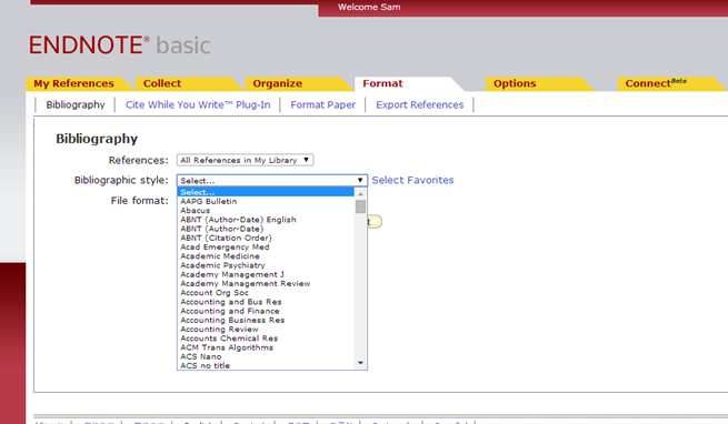 Screenshot for how to select a bibliographic style in EndNote.