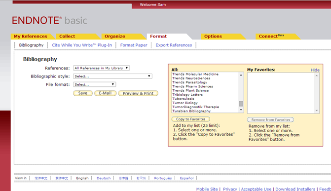 Screenshot of how to select favorite styles in the Bibliographic tool to limit what displays.