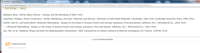 Screenshot of a bibliography generated via EndNote.