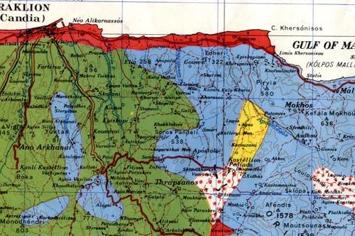 Crete 1:250 000 'going' map extract