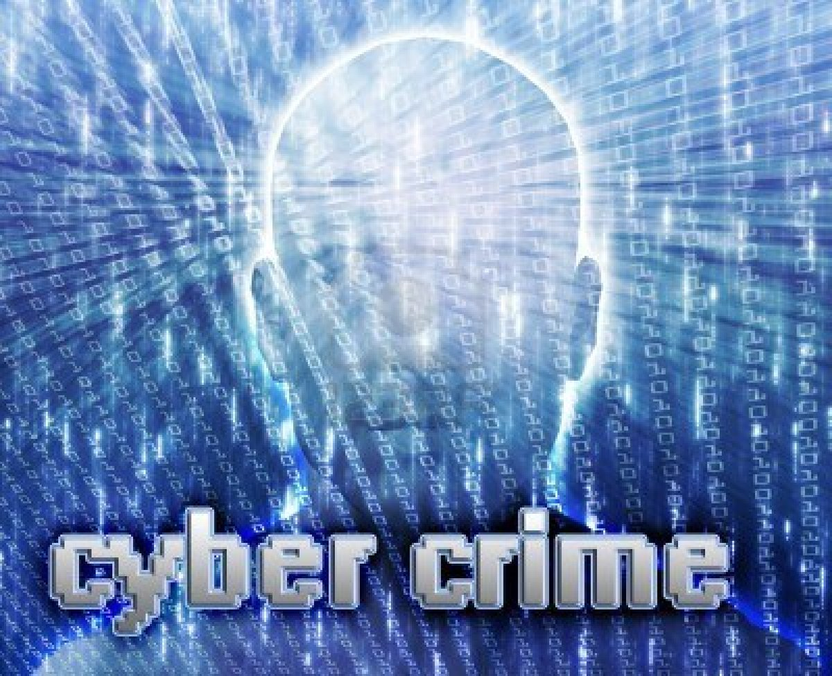 Image of computerized male head with the words cyber crime