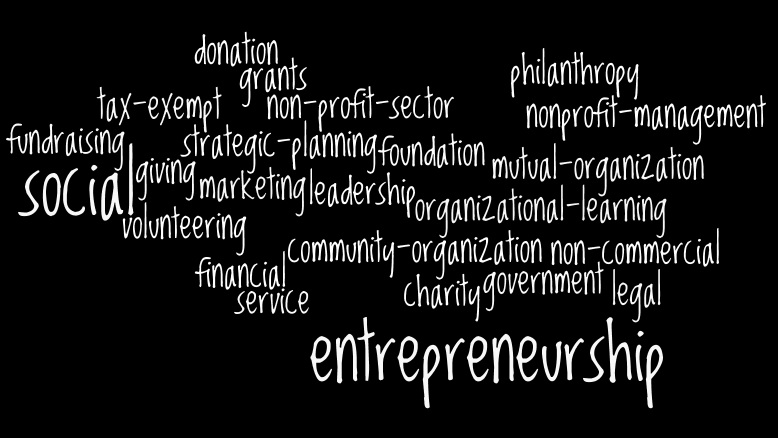 word cloud of terms related to nonprofit management