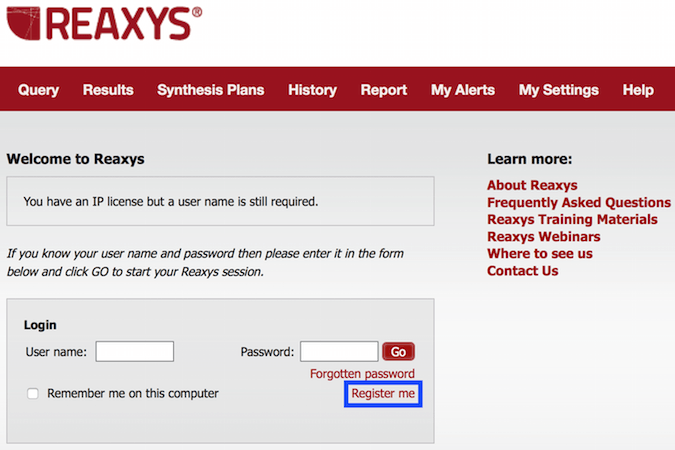 Reaxys Registration