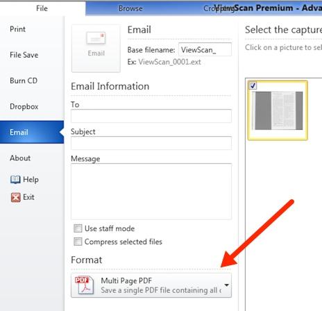 Format menu at bottom of screen. Multipage PDF is shown as menu default.