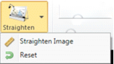 Pull-down menu for Straighten tool. Menu lists straighten item and reset options.