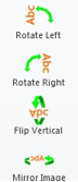 Rotate left, rotate right, flip vertical, and mirror icons. All icons are green directional arrows.