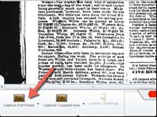Capture full frame icon in bottom left corner of screen