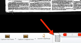Thumbnail picture in bin on lower right portion of screen