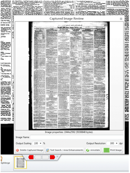 Enlarged thumbnail in window labeled captured review.