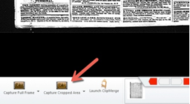 Capture cropped area icon on bottom left of screen
