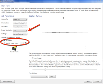 Contains drop-down menu to adjust resolution and menu used to specify number to scan.