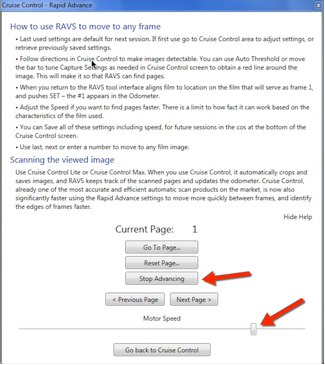 Cruise control-rapid advance window displaying current page number.