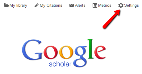 Settings is a link at the top of the main Google Scholar page