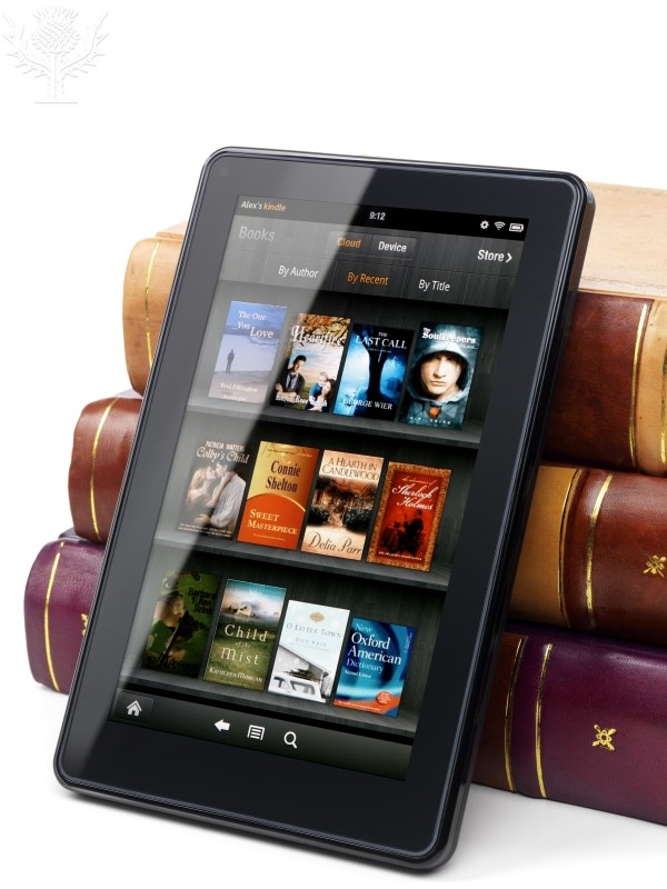 image of books on a tablet