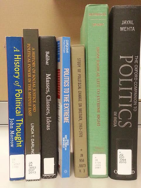 Selection of books from the library's politics colleciton