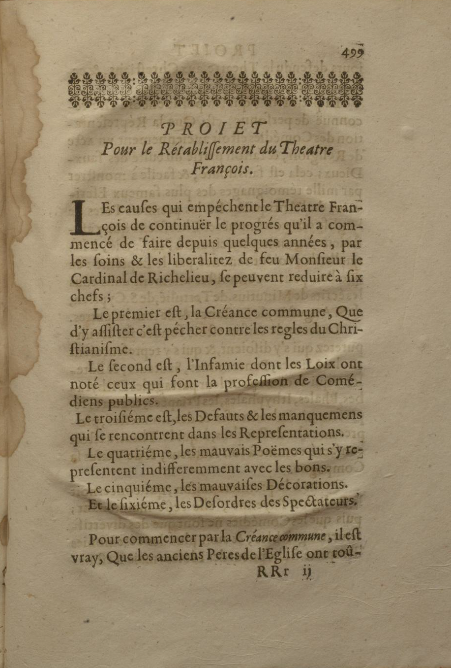 Scanned image of a page from La pratique du theatre. Long description follows the image