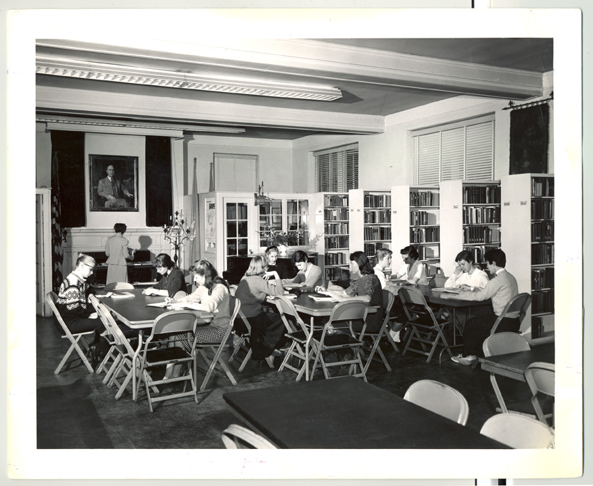 Students studying in Stebbins Library, 1958