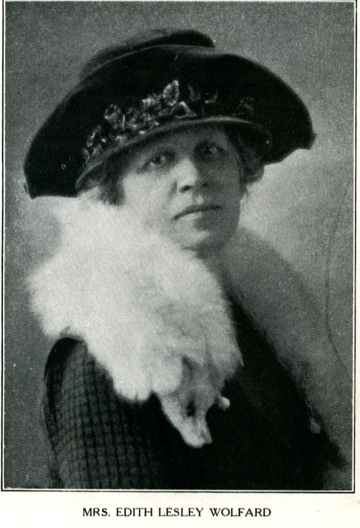 Edith Lesley Wolfard wearing hat and white fox stole