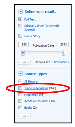 Screenshot of EBSCO filters with trade publications circled