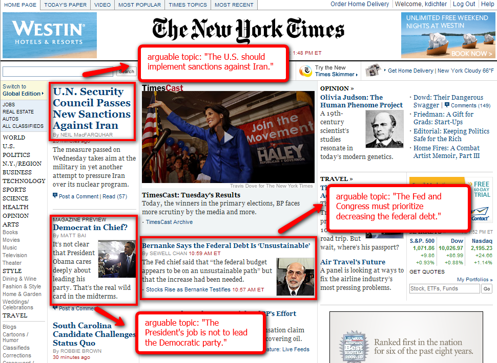 image of the NY Times online website, with notes, written in the text before this image, pointing out headlines