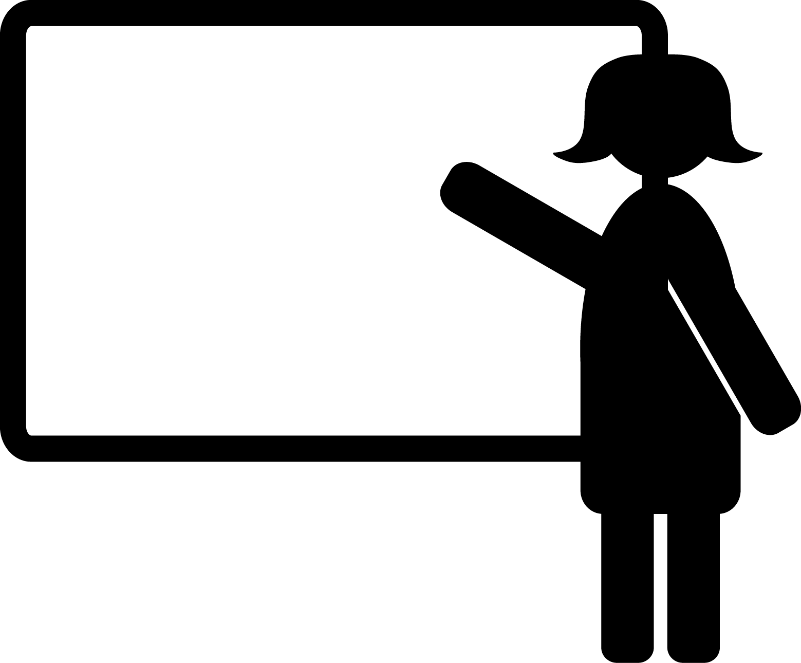 Icon of a lecturer pointing at a whiteboard.