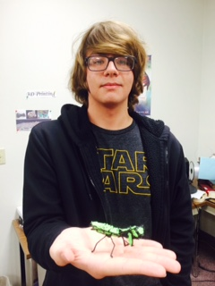 Robert O'Connell showing his 3-d printed praying mantis
