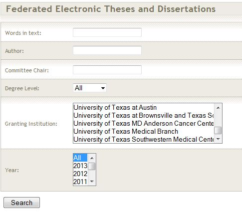 Texas Digital Library search page