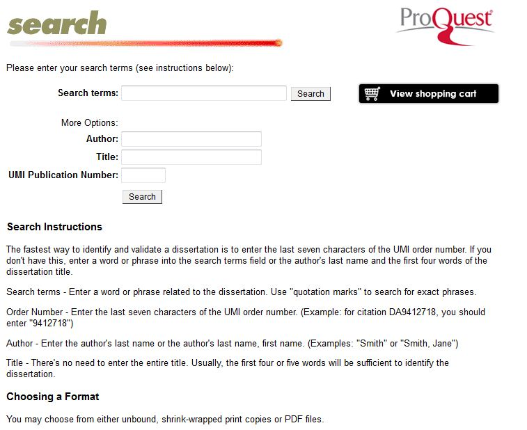 ProQuest Dissertation Express search page