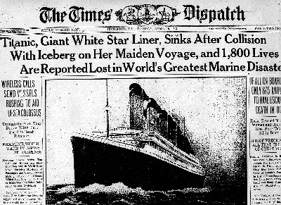 newspaper with Titanic front page story