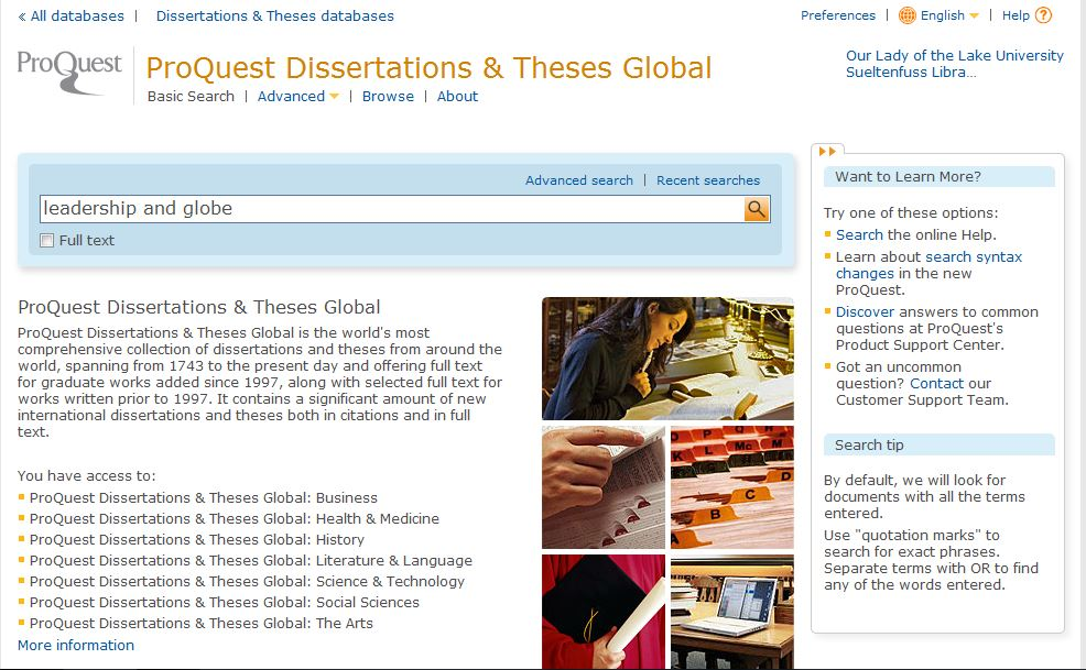 ProQuest Dissertations and Theses search page