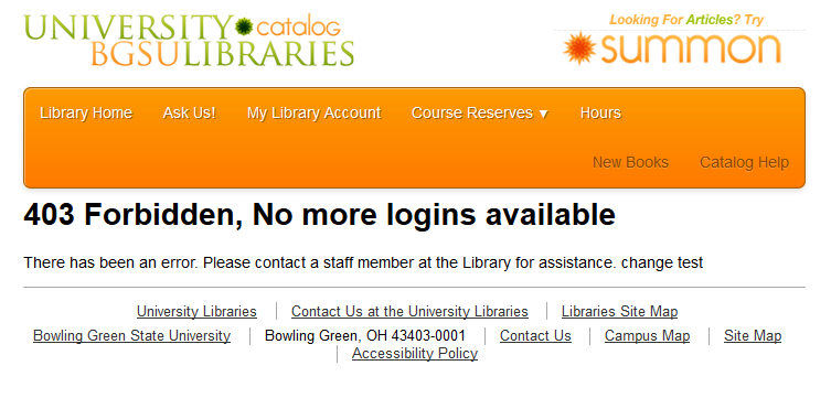 Image of error message that reads '403 Forbidden, No more logins available.'
