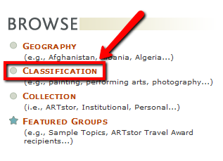 ARTstor browse - choose classification, the second bullet point