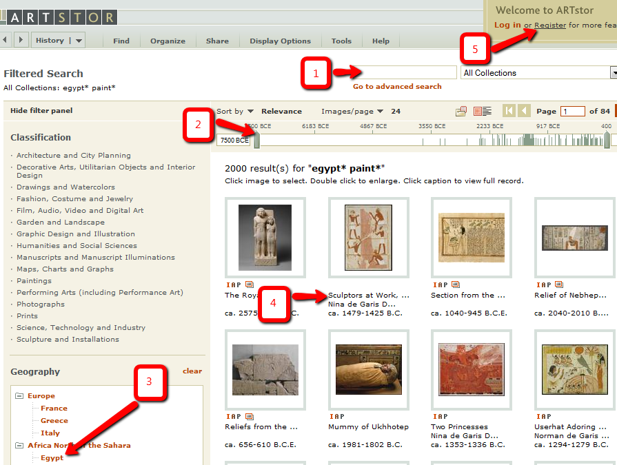 ARTstor results page highlighting different features